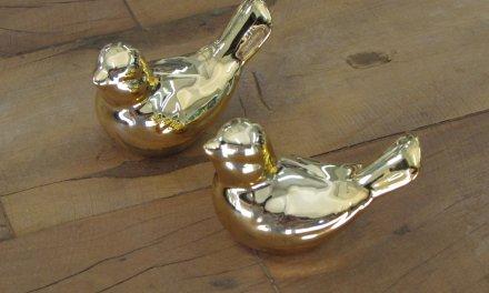 Passarinho Decorativo Cromado Dourado